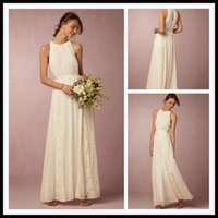 Wholesale 2016 BOHO Bridesmaid Dresses Long Chiffon Bridesmaid Dress Ivory With Lace For Beach Wedding Dress Custom Made Vestidos Damas de Honor