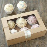 kraft box - 6 Cupcake Cardboard Paper Box with Handle Gift Cake Packaging cm Kraft Paper Boxes