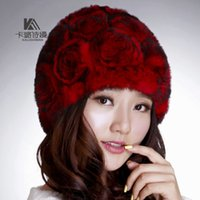 Wholesale 14 Colors Rabbit Fur Caps Knitted Hats Women s New Elegance Winter Hat Grace Wool Rose Floral Warm Hat Millinery Beanie Skull Caps