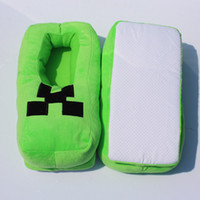 plush slippers - Minecraft creeper Slipper plush shoes Creeper soft plush slippers package with thermal cotton padded slippers High Quality
