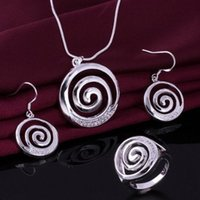 Wholesale F10571 Tornado Design Silver Plated Round Jewelry Set Best Gift For Ladies Ring Earrings Necklace Freeship