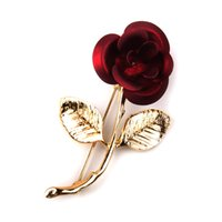 apparel jewelry - RED rose flower shape apparel jewelry Brooches pins Lady Dress Beanie Hat Accessories Brooches cute rhinestone christmas giftl Pin brooch
