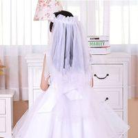 Wholesale Wedding Flower girl head piece veil Hairband Handmade Headpice Garland Veils Headband Dress Decoration pink white WHH102