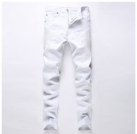 Wholesale 2016 Brand Mens balmain jeans Straight Ripped Jeans for Men High Quality Denim Bike Jeans Men Fashion Designer Pants Slim Fit Trousers