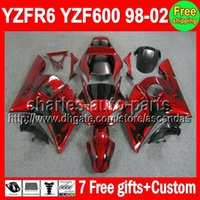 For Yamaha fairings - 7gifts For YAMAHA YZF R6 Black flames YZF600 C L505 YZF YZF R6 YZFR6 Red blk Fairing Kit On sale