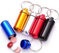 aluminium travel cases - Travel aluminum alloy Pill Box keyring Weekly aluminium alloy Medicine Storage Container Case