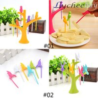 Wholesale 2015 Novelty Creative Set Bird Fruit Forks With Green Orange Tree Shaped Standcutlery