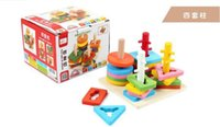 wooden matches - 2015 Children Shape Matching Four Sets Column Wood Toy Kids Boys Girls Learning Education Toys Wooden Building Bricks Blocks Sets D3803