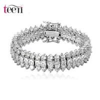 Wholesale Teemi Brand Top Luxury Wedding Bracelet Rows AAA Top Quality Zircon Stones Paved Wedding Bracelet Bangles for Women Rhodium