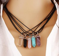 amethyst gemstone necklace - Hot Sale Natural Gemstone Hexagon Pendant Rose Quartz Crystal Turquoise Amethyst Pendant Necklace Women s Fashion Charms Jewelry Colors