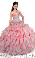 Wholesale One Shoulder Girls Pageant Dresses Illusion Sleeve With Crystal Beaded Sweep Train Ball Gown Wedding Party Dress For Girls RA1572