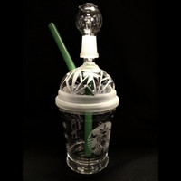 Wholesale SANDBLASTED DABUCCINO STARBUCKS GLASS BUBBLER OIL RIG Dab Concentrate Oil Rig HITMAN GLASS X EVOL GLASS DABUCCINO INSPIRED CUP RIG