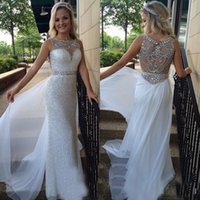 Autumn/Spring beaded - White Sequined Crystal Beaded Prom Gowns Boat Neck Sexy Beading Back Pageant Gown Chiffon OverSkirt Evening Dresses