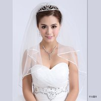 Wholesale 2015 IN STOCK Elegant Bridal Veil Two Layer Cheap for sale Veil for Wedding