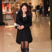 Wholesale Hot Fashion New Lady Womens Winter Warm Wool Woolen Blend Belted Long Faux Collar JACKET Double Breasted Fur Coat Women Trench Coats Bl