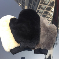 car wash sponge - 3 Colors High Quality Fragment Genuine Sheepskin Wool Car Wash Mitt Auto Wash Glove