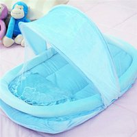 Wholesale Hot Sale Folding Baby Bed Portable Baby Bed Crib Folding Mosquito Net Infant Cushion Mattress Pillow Blue Pink Cama Infantil