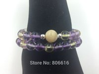 Cheap AAA+ Pure Natural 8MM Amethyst & Citrine & 10MM Sea Shell 2 Cycles Bracelet Strand Beads Jewelry