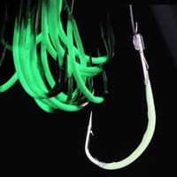 Wholesale 30pcs Luminous Fishhooks With the fishing line Barbed Fishing Hooks Artificial Pesca Fishing Tackle Accessories Binnel Online