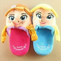 baby home shoes - 2015 new winter Frozen Elsa Anna Children baby s Girls Princess Elsa Children Flip Flops Shoes Home Furnishing shoes Princess plush YY