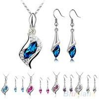 Wholesale Women s Fashion Angel Elf Crystal Pendant Necklace Drop Earrings Jewelry Set R3