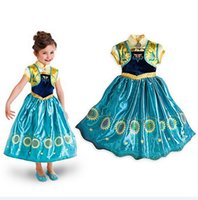 mid dress - Frozen Fever Girl Dresses Kids Frozen Anna Cosplay Sunflower Children Party Clothes Party Dress