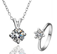 aqua coating - New Hot Top Quality Lover Jewelry Gift Sets Silver With K White Gold Platinum Coated CZ Crystal Pendant Necklace Ring Set