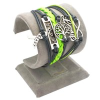 Cheap Wholesale-Retro silver Infinity Love wishing Life tree Hope Breast & Cancer Awareness Ribbon Green Imitation Leather Braid Bracelet