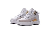 Cheap child 12 OVO White Basketball Shoes Grey white gold retro Children's Athletic Shoes training children sneakers