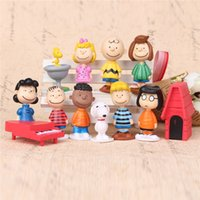 Wholesale peanuts snoopy movie cartoon charlie brown lucy cute nails set anime action figures pvc toys cake topper decoration doll figure gift