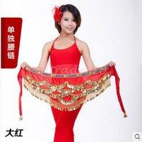 Wholesale 2lot CCA3394 High Quality Candy Color Belly Dance Costume Hip Scarf Waistband Wrap Golden Coins Belt Velvet Skirt Dress Belly Dance Belt