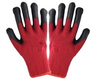 Wholesale 2016 New Arrival Black Latex Coated Red And Grey Cotton Security Working Glove LLY200 Color