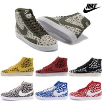 Wholesale Nike Men Women Blazer Mid Casual Shoes Original High Cut Skate Shoes Discount Classic Lovers Sneakers Authentic Leopard Print Boots