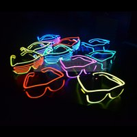 Wholesale NEW Fashion EL Led glasses as Wedding Christmas Holiday Rave Costume Party Gift Bule Green Yellow Pink Red Purple Light