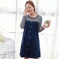 Wholesale New Arrival Spring Fashion Korean Maternity Dresses Stripe pregnant women dress