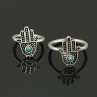 Wholesale Europe And The United States Vintage Silver Hand Ring Hand Of Fatima Delicacy Retro Rings For Women R85