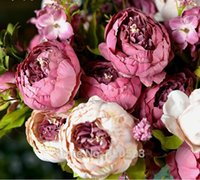 fall decorations - European Silk Flowers Bouquet Artificial Fall Vivid Peony Fake Leaf Wedding Home Party Decoration