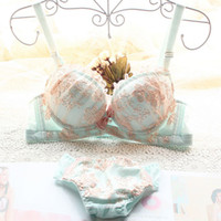 Wholesale Cute Japanese Bras - NEW Japanese embroidery cute female girl sexy lace bra and panties sets adjustable push up underwear sets women bra sets 2 color