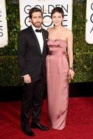 award ribbons - 2015 nd Golden Globe Celebrity Dresses Ake Gyllenhaal and Maggie Gyllenhaal Dark Pink Elastic Satin Backless Celebrity Red Carpet Dress