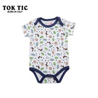 Wholesale TOK TIC brand bebe dinoser print roupa baby boys bodysuit high quality cotton summer short sleeve jumpsuit