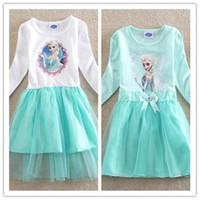 peppa pig clothing - Frozen princess elsa anna baby girl long sleeve dress Peppa Pig Nova brand children cartoon kids clothes party tutu cotton