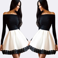 ballerina t - Black and White Ballerina Party Dress Short A Line Homecoming Dresses Off the Shoulder Long Sleeves Cocktail Party Dresses Sexy Women Dress