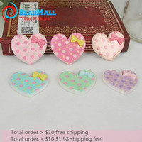 Wholesale Min order mm resin cabochon Mix color heart shape with bow flat back cabochon for girl phone art DIY021