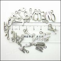 Wholesale Mix Charms alphabet Letter Pendant Tibetan silver Zinc Alloy Fits Bracelet Necklace DIY Metal Jewelry Findings