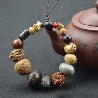Wholesale Natural Bodhi Seed Tibet Buddhist Prayer Beads Mala Bracelet Buddha Charm Bangle Jewelry