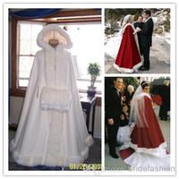 beige cape coat - 2015 Red Winter Valentine Bridal Cape Fur Hooded Wedding Cloak Two tone Chapel Train Wedding Cape with Hood Wrap Coat Long Wraps Jacket