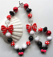 Wholesale set Black red white gumball beads bubble gum red bowknot jewelry set kids girls pink mickey chunky necklace set