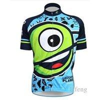Wholesale Newest hot Summer laughin Cartoon Cycling Jerseys Short Sleeves Cycling Clothes Comfortable Bike Wear Yellow Cycling Tops Cheap Bike Wear