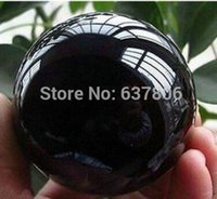 Wholesale 40MM Stand Natural Black Obsidian Sphere Crystal Bal