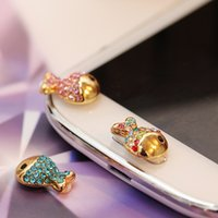 Wholesale Cute Little Shiny Rhinestones Alloy Fish Home Button Sticker for Samsung Women s Mobile Phone Stickers